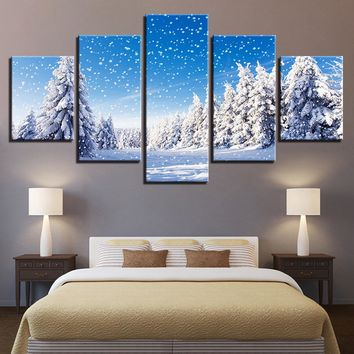 Winter Snow Scene Poster Christmas Pine Trees Wall Art on Canvas