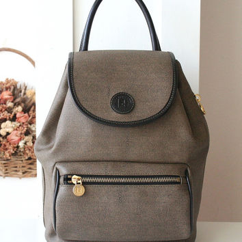 Fendi Backpack Vintage Khaki Brown Authentic handbag purse