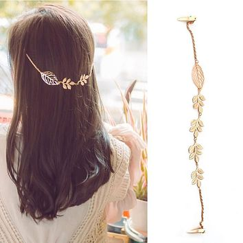 Fashion Women Lady Rhinestone Chain Headband Hair Band Leaf Hair Clip Jewelry