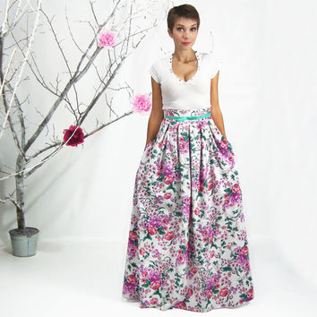 Maxi Skirt, Long Floral Skirt, Plus Size Skirt, High Waisted Skirt, Cotton Floor Length Skirt, Bridesmaid Skirt, Pleated Skirt with Pockets