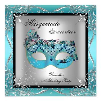 Masquerade Teal Blue Mask Quinceanera Party