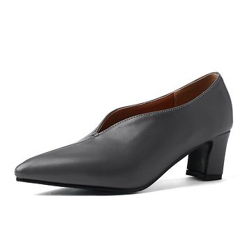 Pointed Toe Medium Heel Shallow Shoes Woman Chunky Pumps