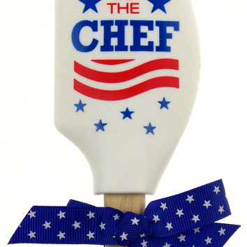Hail To The Chef Silicone Wood Spatula Red White Blue President Election Politic