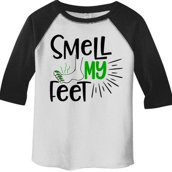 Boy's Funny Halloween Shirt Smell My Feet Graphic Tee Cool Matching Shirts 3/4 Sleeve Raglan Toddler Girl's