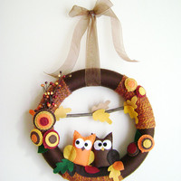 Felt and Yarn Wreath - Autumn Harvest Owls - Made to Order -  Fall Leaves Brown Orange Gold