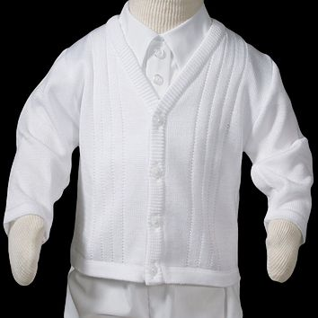 Knit Cardigan Sweater Soft Fine Quality White Acrylic Beautiful Detailed (Infant Boys newborn - 24 months)