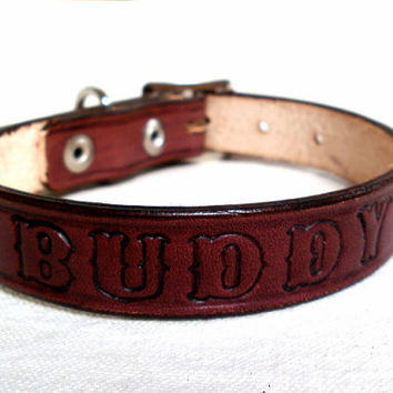 "Personalized collars, 3/4""  wide, large dog collar, leather dog collar, brown dog collar, tan leather collar"