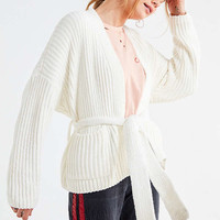 UO Quinn Tie Chenille Cardigan | Urban Outfitters