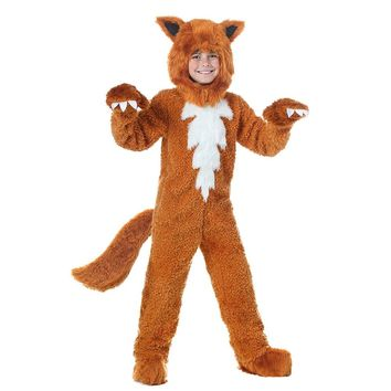 Kids Fox Costume Cute Animal Onesuits What does the Fox Say Halloween Fancy Dress Furry Jumpsuit Pajamas with Hood Gloves Outfit