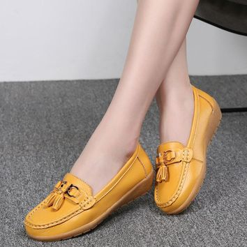 Women shoes summer mother shoes woman flats soft bottom genuine leather ladies ballet loafers flat shoes sneakers