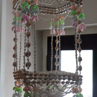 Vintage sea shell - hanging plant holder - wind chiming vintage hanging shell decorated basket - vintage decor
