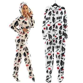 Adult Kiss Star Fleece Footed Winter Pajamas Onesuits XS-L