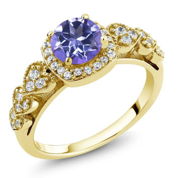 Purple Blue Mystic Topaz 18K Yellow Gold Plated Silver Ring