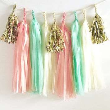 Paper Garland & Metallic Mini Tassels - 20 Tassel DIY Kit - Blush Pink Mint Green Ivory Gold Foil - Wedding Party Decor Bridal Shower Baby