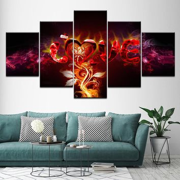 5 Pieces Letters Love Abstract Fire Flower Wall Art Canvas Panel Print Picture