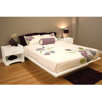 Queen Size Contemporary Platform Bed Frame in White Finish