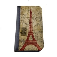 Eiffel tower Paris vintage postcard Iphone 6 (4.7-Inch) wallet case black flip case for iPhone 6 (4.7)