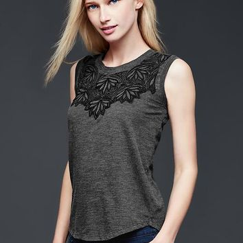 Sleeveless Embroidered Tee