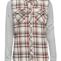 Full Tilt Girls Hooded Flannel Shirt Peach  In Sizes