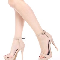 Nude Open Toe Ankle Strap High Heels Faux Leather