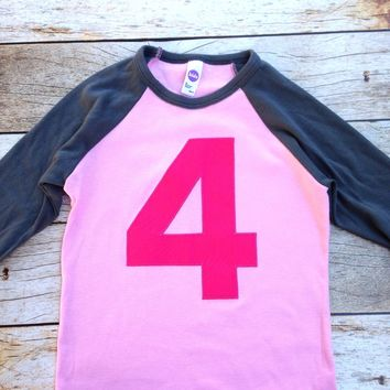 Pink and Asphalt Raglan with Fuchsia Number Birthday Shirt girls 1st birthday outfit 1 2 3 4 5 6 7