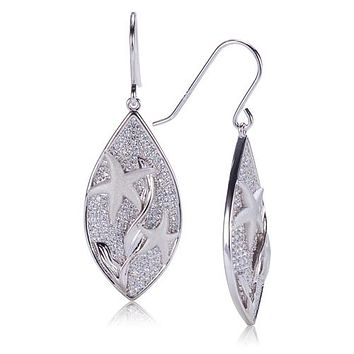 Sterling Silver Pave Cubic Zirconia Star Fish in Leaf Hook Earring