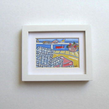 Acrylic Landscape Beach Painting, Original Minature ink on canvas