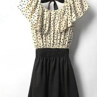 NEW Cute Boho Chic Vintage Style Polka Dotted Dress