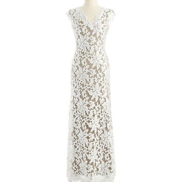 Tadashi Shoji Sequined Floral Lace Gown