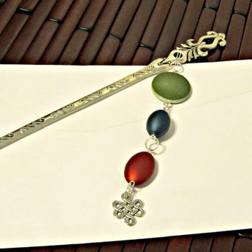 Bookmark or Letter Opener or Hair Stick - Gifts for Anyone - Gifts Under 25 - Unique Gifts - Green, Blue, Red - Jewel Tones - Celtic Charm