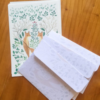 Letter paper set, letter writing set, with watercolour illustration, fox, botanical, forest and rose