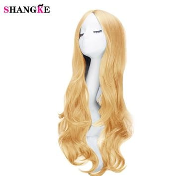 SHANGKE 26'' Hair Long Wavy African American Synthetic Wigs For Black Women Natural Black Wigs Heat Resistant Fiber Hair