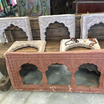 Antique Pink Jaipur Stone Window Arch Frame, hAVELI Floral Hand Carved, Decorative Wall hanging eclectic, vintage artifact, 6pcs available