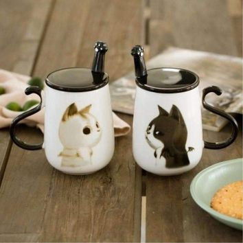 Cute creative Big 450ML Car pattern ceramic coffee mug with spoon and cover Healthy Office and home use Cat coffee mug spoon set