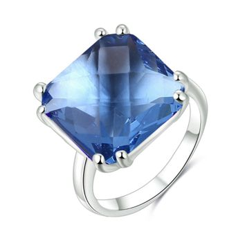Dreamy Blue Cushion Cut Crystal Cocktail Ring