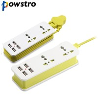 POWSTRO 5V 2A UK Plug Charger Extension Socket Outlet Portable Travel Charger With 4 USB Smart Charger Wall Charging Desktop