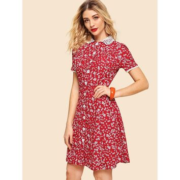 Contrast Lace Collar Floral Fit & Flare Dress Red