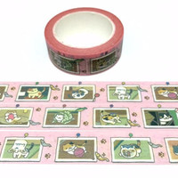 street Cat washi tape 10M x 1.5CM cozy cat daily life lazy cat kawaii cat washi masking tape pussy cat fat cat planner sticker diary gift