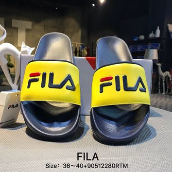 FILA Casual Fashion Women Men Print Yellow Sandal Slipper Shoes