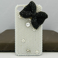 Fashion case black bows full Pearl   iphone 5 case iphone 4 case iphone 4s case iphone 3 case