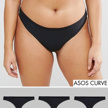 ASOS CURVE 3 Pack Seam Free Thongs at asos.com
