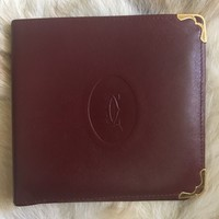 """Cartier"" Authentic True Rare Vintage Maroon Leather Mens Bi-Fold Wallet"