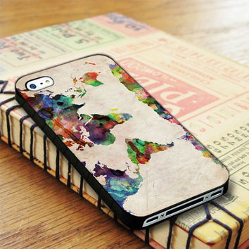 Watercolor World Map iPhone 4 | iPhone 4S Case