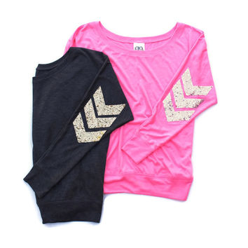 Sequin Chevron Dolman Tee - Sequin Military Patch Tee