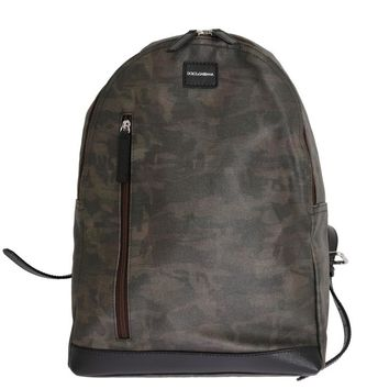 Green Camouflage Canvas Cotton Leather Backpack