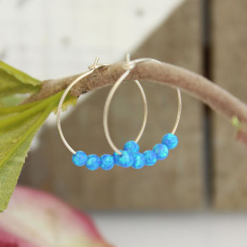 Small Hoop Earrings, opal Hoop Earrings, Dark blue Opal beads, Sterling silver hoop earrings, Gypsy Hoops, Tribal earrings, opal jewelry