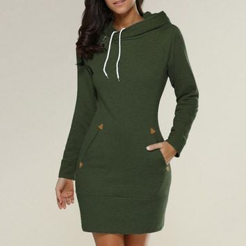 2018 Women Autumn Winter Hoodies Dress Casual slim Long Straight gray green Sweatshirt Full Sleeve Cotton Hooded Dress Vestidos