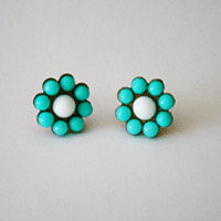 turquoise post earrings, vintage beads