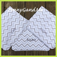 Personalized Grey Chevron Burp Cloths ~ Chevron Burp Cloths ~ Flannel Burp Cloths ~Gender Neutral ~Set of 2 or 3
