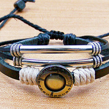 personalized leather bracelets for men women Surfer Cuff  Leather Rope Bracelet  Metal pipe Cuff  white cotton  Rope L0027